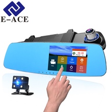 E-ACE 5.0 inch Touch Screen Car Dvr Rearview Mirror Camera Recorder Dash Cam Full hd Auto Dual Camera Automotive Video Recorders