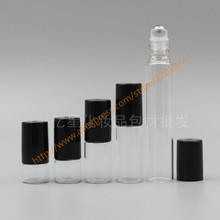 1ml/2ml/3ml/5ml/10ml clear Glass Bottle(long neck) With stainless roller+black plastic lid,roll-on/perfume/deodorant bottle