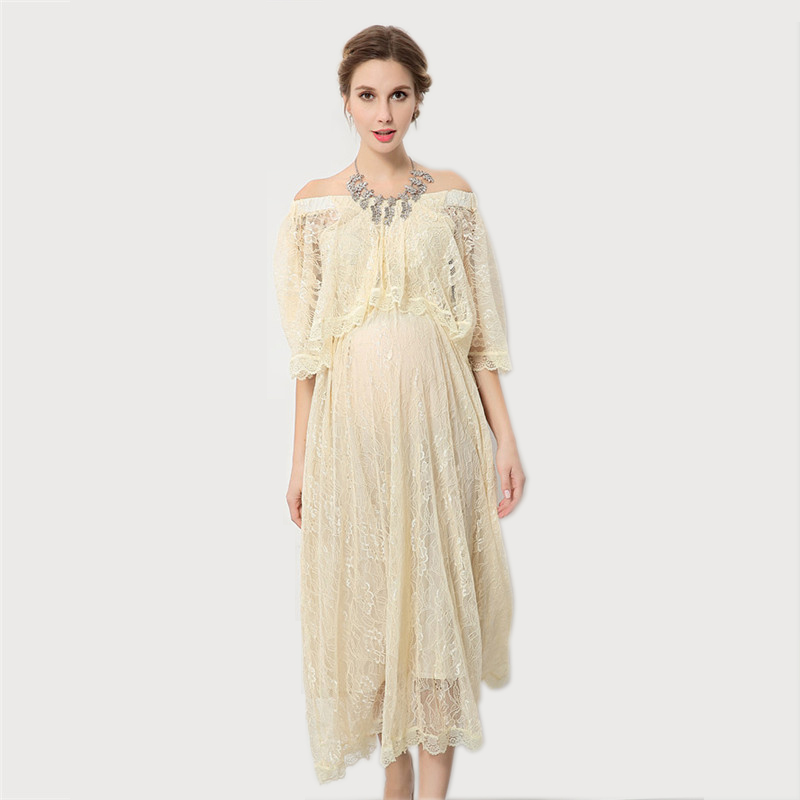 ZTOV Pregnancy Photo Photography Props Shoot boat neck Lace Voile Maternity Long Dress Shoot Studio Clothing For Pregnant Woman<br>