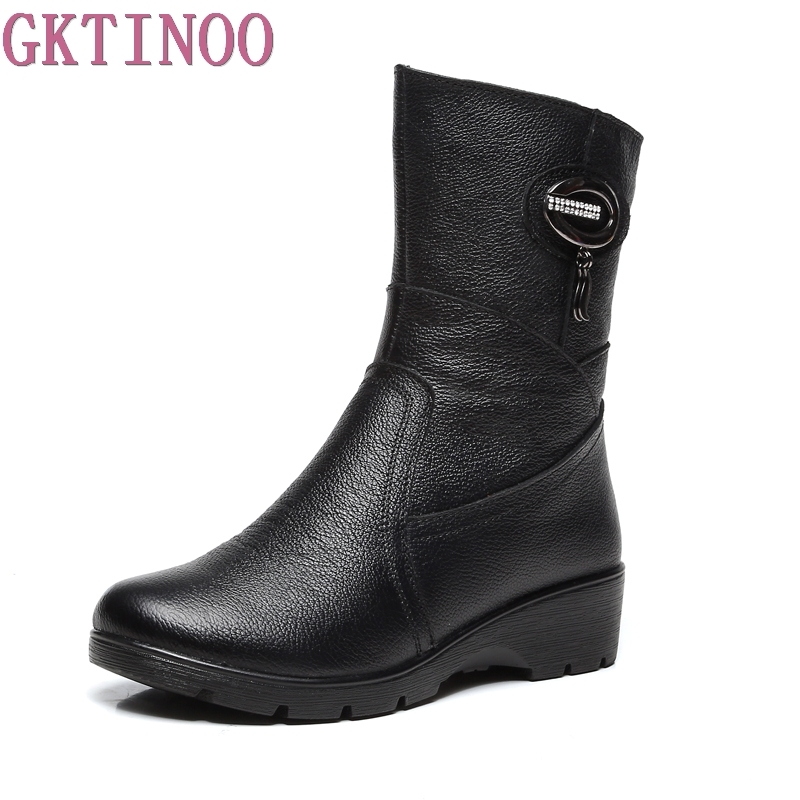 Snow Boots 2017 Women Winter Boots Mother Shoes Antiskid Genuine Leather Women Fashion Casual Boots Plus Size<br>