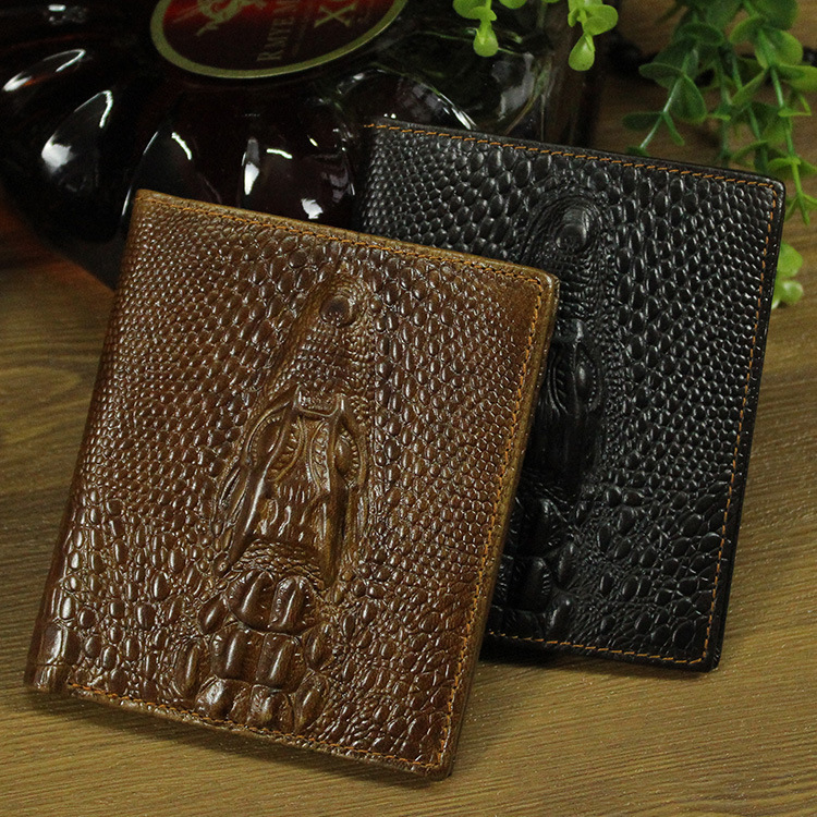 Vintage Men Wallet male 2017 Coin Purses Holders Brand Genuine cow Leather 3D Embossing Alligator man Crocodile Clutch Wallets<br><br>Aliexpress