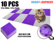 New 10 pcs White and Purple Plastic Flooring Mat Tiles Anti Slip Indoor/Outdoor Foot Prints Pattern 30 x 30 cm KK1128