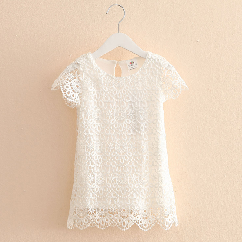 Elegant Girl Dress Summer New 2017 Fashion Lace Hollow Solid Party Dresses Girl O-neck Pretty Kids Clothes Girls 2934Z<br><br>Aliexpress