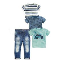 4pcs set Jeans Sets For Kids Boys Baby clothes chlildren boy clothing set Summer Stripe Car truck 3piece shirt + Trousers Jeans