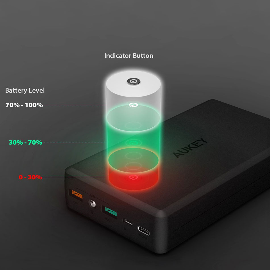 AUKEY Power Bank PB-Y3 30000mAh Type C 5V/3A Input/Output Mobile External Battery With Quick Charge 3.0 Fast Charge Powerbank