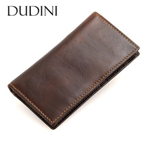 [DUDINI] Men Genuine Leather Wallet Business Vintage Card Holder Purse Thin Section Long Organizer Clutch Pouch Wallets(China)