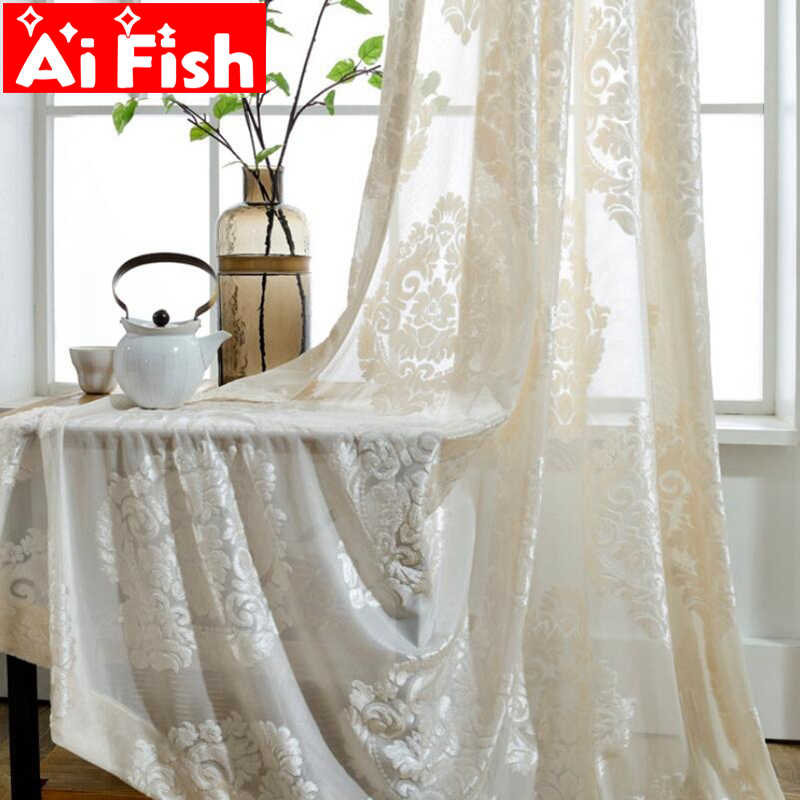 European Classic Flocking Screens Beige White Semi-shading Tulle Window Treatments Sheer Panels Curtain For Living Room wp011-40
