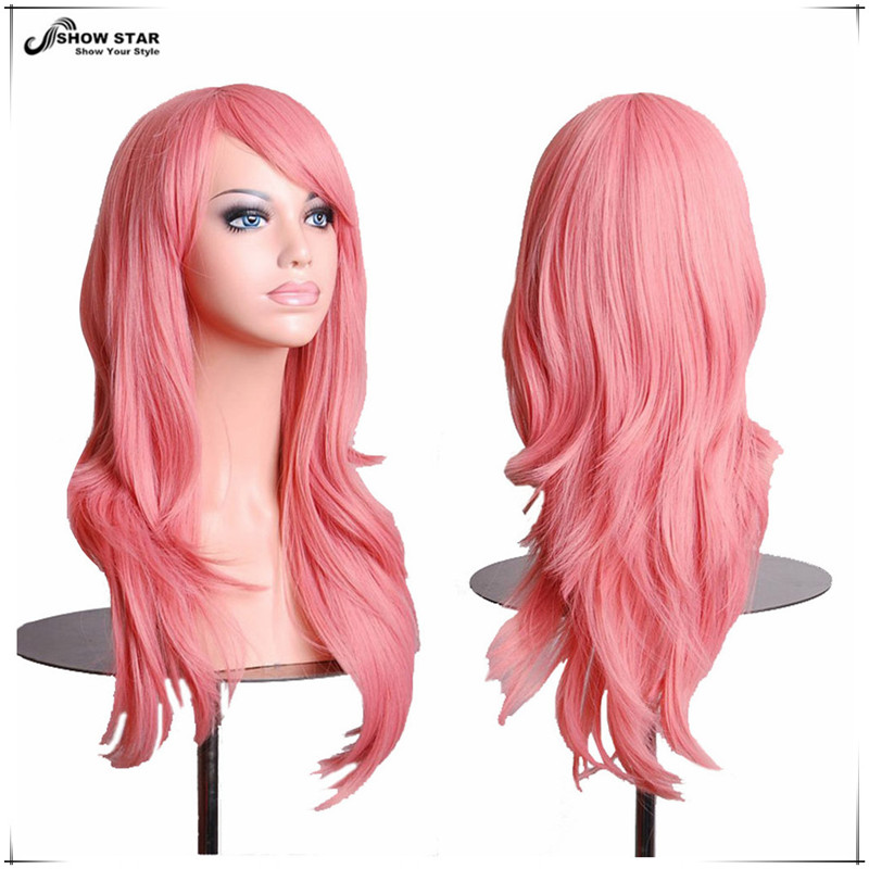 Harajuku Pink Wig with Bangs Cheap Wigs for Women Long Wavy Curly Wig Anime Cosplay Wig Perruque Synthetic Women Halloween <br><br>Aliexpress