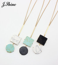 2017 Textured Geometric Faux Marble Stone Long Pendant Necklace Winter Sweater Necklaces for Women Bohemia All Match Jewelry cc