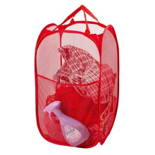 Hot Sale Mesh Fabric Foldable Pop Up Dirty Clothes Washing Laundry Basket Bag Bin Hamper Storage for Home Housekeeping Use(China)