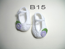 free shipping,handmade crochet baby girl shoes 100% cotton.Double soles,baby Crib Shoes Houseshoes white with purple flowers(China)
