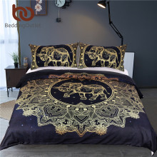 BeddingOutlet Mandala Flowers Elephant Duvet Cover Set Black Dark Blue Bedding Set Queen Vintage Soft Quilt Cover Set Mandala(China)
