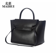 Maihui designer handbags high quality real cow genuine leather bags for women 2017 new fashion shoulder bags trapeze tote bag(China)