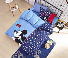 Mickey Mouse Printed Comforter Bedding Set Egyptian Cotton Woven 600TC Applique Embroidery Twin Full Queen Size Star Shape Blue