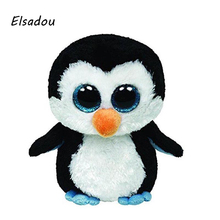 Elsadou Original Ty Beanie Boos Big Eyes Plush Toy Doll Black Penguin(China)