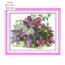 Golden Panno,Lilac Counted Cross Stitch 11 14CT Cross Stitch Sets Flowers Cross Stitch Kits for Embroidery Home Decor 923(China)