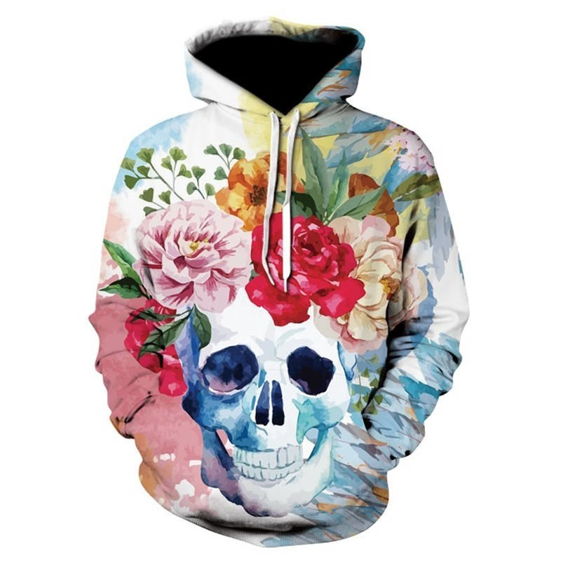 oufisun anime hoodie spring fall Skull headr men hoodies sweatshirts 3D Printed Funny Hip HOP Hoodies