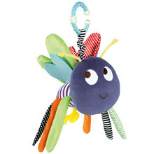 Infant newborn soft bee plush toy baby pram bed bell soft hanging toys animal handbells rattles education doll