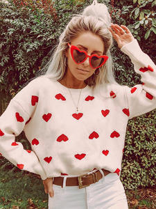 Conmoto Heart Pullover Jumpers Lantern-Sleeves Crochet Winter Sweater Loose White High-Street