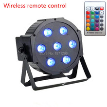 FREE SHIPPING The wireless remote control 7x9W DMX RGB LED Par Light Flat Can 3in1 DJ Party Disco Stage Light  good quality