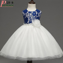 2017 Good Quality Kids Girls Lace Dress Fashion Retro Style Children Party Wedding Dress Flowers Princess Girl Ball Gown Dress