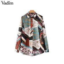 Vadim women vintage Geometric pattern blouses long sleeve turn down collar pleated shirts female casual wear chic tops LA293(China)