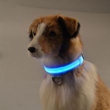 D32 pet dog cat collar nylon lights collar light-emitting LED pet collar dog collar USB Rechargeable(China)