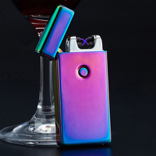 HOT SALE 1PCS Electric Rechargeable Lighter Dual Arc Flameless USB Cigarette Windproof Flameless Lighter 5 Colors With USB Cable