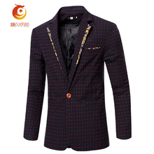 2017 New Arrival Brand Clothing Spring Wine Red Blazer Men with Dots Fashion Slim Fit Male Suits Jackets Casual Blazer Masculino