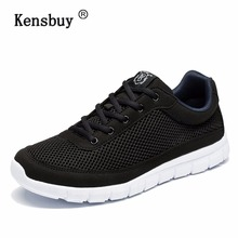 Kensbuy Men's running shoes Sweat-Absorbant Breathable Sport Shoes Mesh Lace Up Outdoor Light  Sneakers Walking Shoes For Men