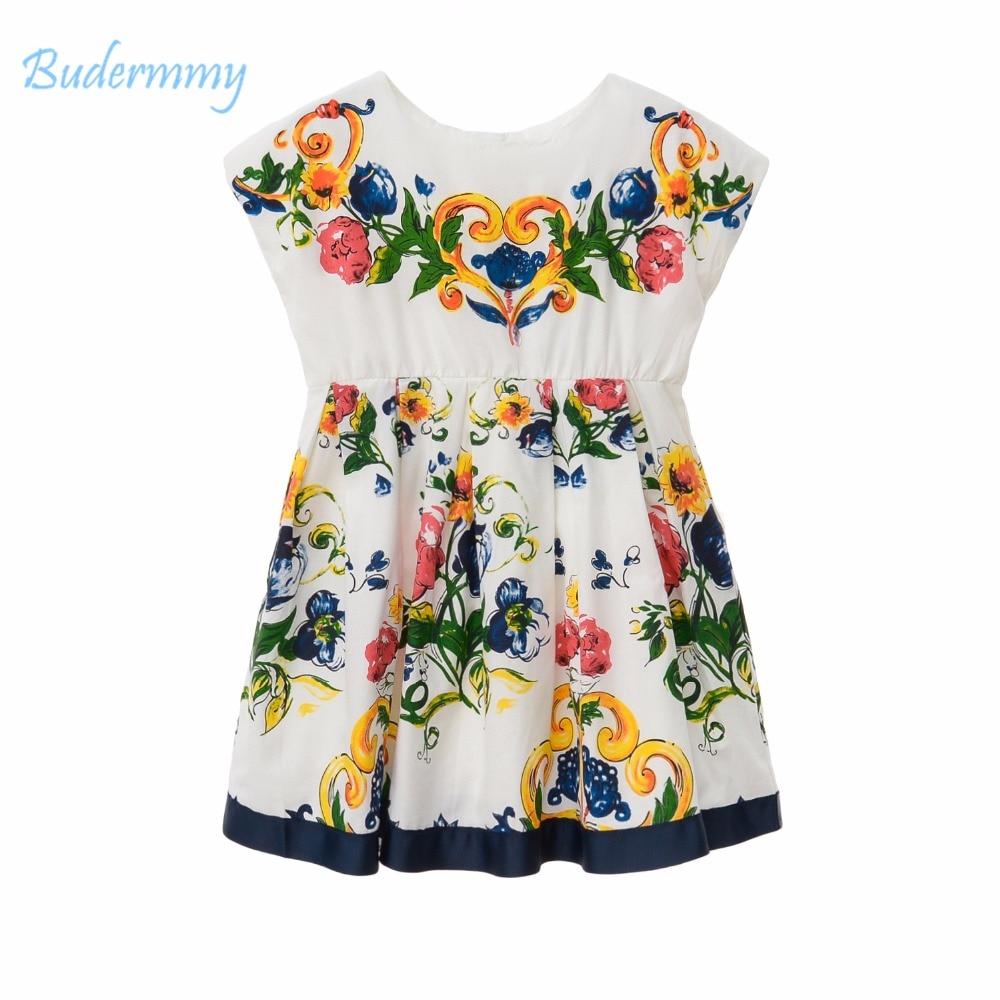 Bohemian Girls Dress Print Flower Pattern Dress Summer Casual Life Dress for 2 3 4 5 6 8 Years Girl Children Clothing Dresses<br>