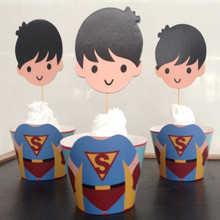 240pcs Big Head Boy Superman Series Baking Packaging Paper Cup Cake Border Insert  12 Toppers+12 Wrappers Birthday Party Supply