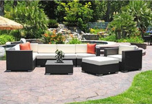 Sigma Modern Patio Furniture Outdoor Wicker Sectional Deep Seating Set 9 Piece(China)