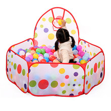 Large Children Kids Ocean Ball Pit Pool Game Play Tent with Ball Hoop Indoor Outdoor Garden Playhouse Foldable Kids Basket Tent(China)