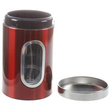 Best 3pcs Stainless Steel Window Canister Tea Coffee Sugar Nuts Jar Storage Set (Red)
