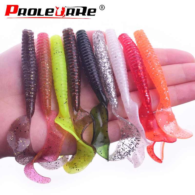 10pcs Curly Tail Grub Worm Mixed Soft Lure Fishing Tackle Bait Jig Head
