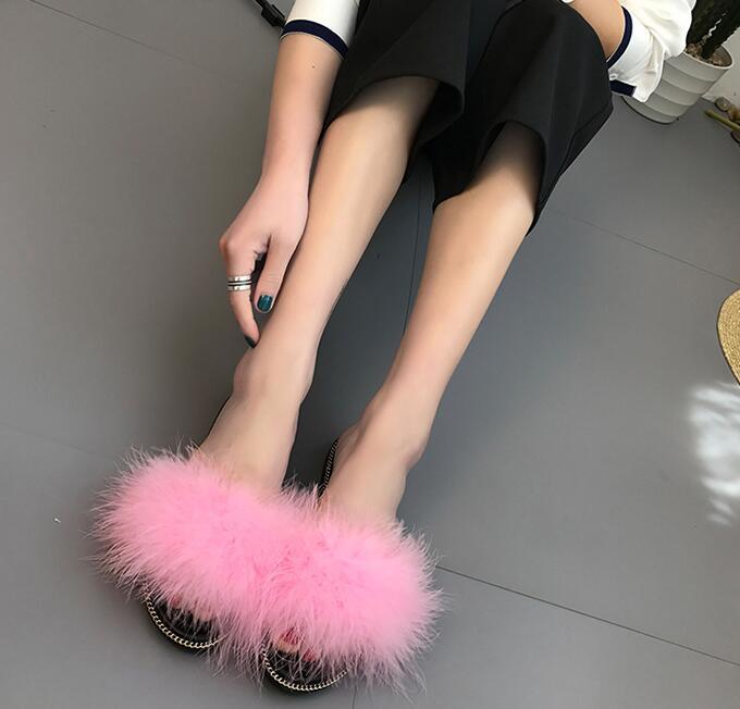 COVOYYAR Cute Fur Women's Sandals 2017 Summer Fashion Flat Lady Slippers Slides Slip On Women Shoes Plus Size 40 WSS287