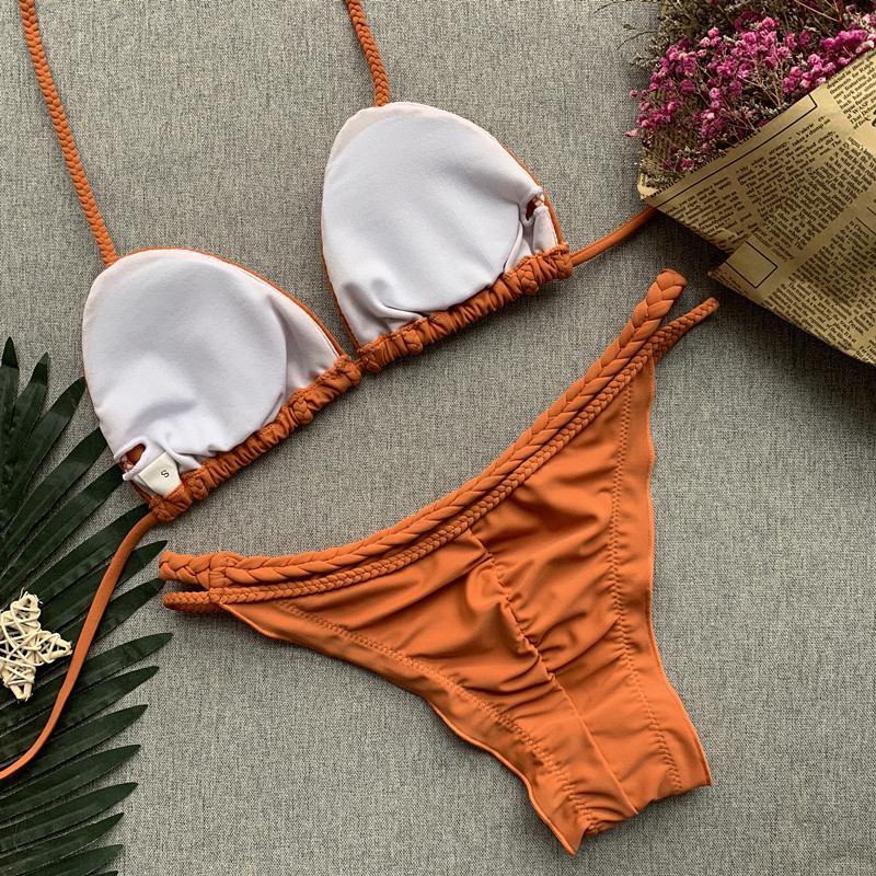 Brown Solid Color Swimsuit 5