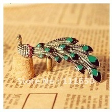 free shipping wholesale fashion vintage peacock rings ladies rings with rhinestone 10pcs/pack(China)