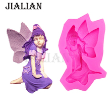 Flower fairy Party cake decorating tools DIY Girl angel cookies fondant silicone soap mould chocolate sugar art displays T0236