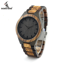 BOBO BIRD V-D30 Unique Gradient Zebra Wood Wristwatch Men's Japan Movement Quartz Watch Classic Folding Clasp with Wood Band(China)