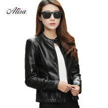 Buy 2018 Spring Autumn Leather Jacket Women Casual Long Sleeve Zipper Slim Coat Fashion ladies Pu Leather Bomber Jacket Femininas for $28.50 in AliExpress store