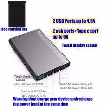 Для xiaomi mi 2 20000 мАч power bank 20000 мАч типа с powerbank 2 портов 4.8a usb с 3a для iphone huawei p9 nexus 5x5 P lg g5