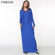 PADEGAO blue embroidery maxi dress hooded long sleeves autumn winter women party long muslim dresses abaya islamic clothing robe