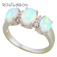 ROLILASON 2016 New Arrival fashion jewelry Ring for women White fire Opal Silver Stamped Rings USA size #6#7#8#9#10 OR889