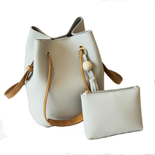 Women Shoulder Bag Famous Brand Tassel Bucket Bag Drawstring Crossbody Bag Messenger Leather Handbag With Small Pouch Purse