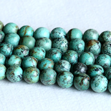"AAA High Quality Natural Genuine Blue Green Africa Turquoise Semi-precious stone Round Big Beads 14mm 15"" 05234(China)"