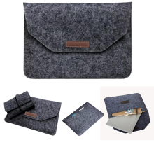 Luxury Wool Felt Notebook Adapter Power Bag For Macbook Pro Retina 13 15 Laptop Sleeve Handle Case For Macbook Air 11 12 13(China)