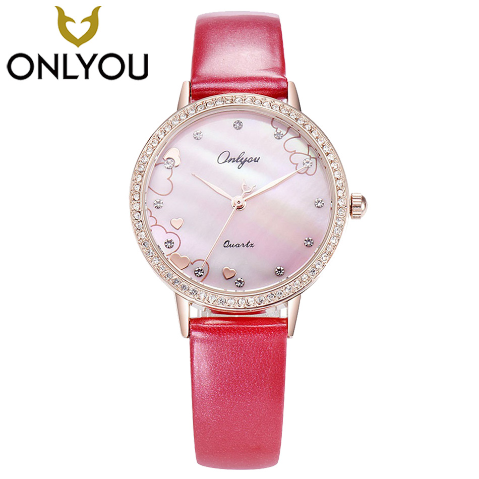 ONLYOU Elegant Women Rhinestones Quartz Watch Women Watches Fashion Leather Dial Diamond Waterproof Wristwatch Montre Femme <br>