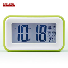 One-touch LCD smart lights love colorful quartet of students Creative small alarm clock luminous(China)